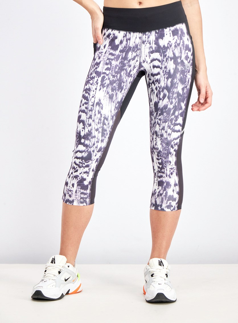 Women's Printed Sports Tights, Black/Purple