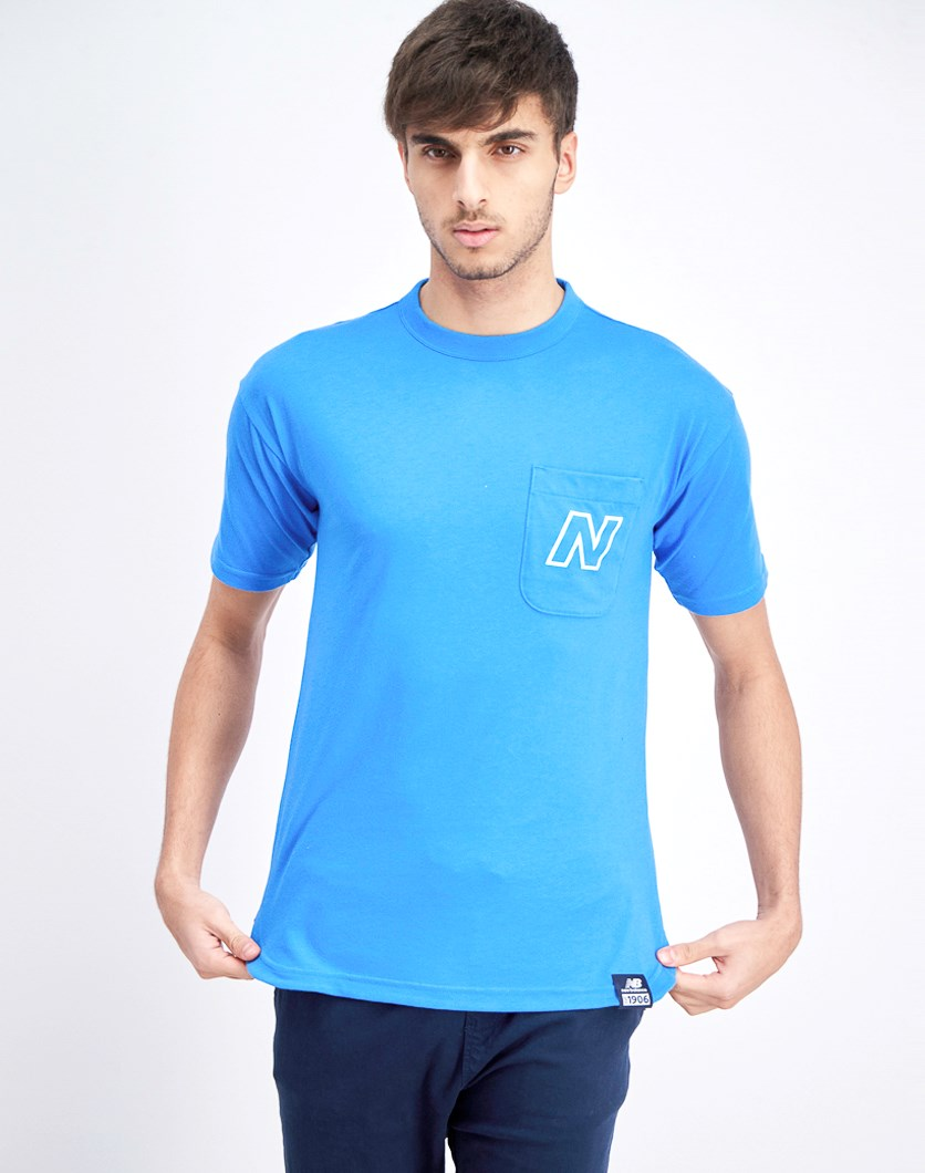 Men's Crew Neck Front Pocket T-Shirt, Sky Blue