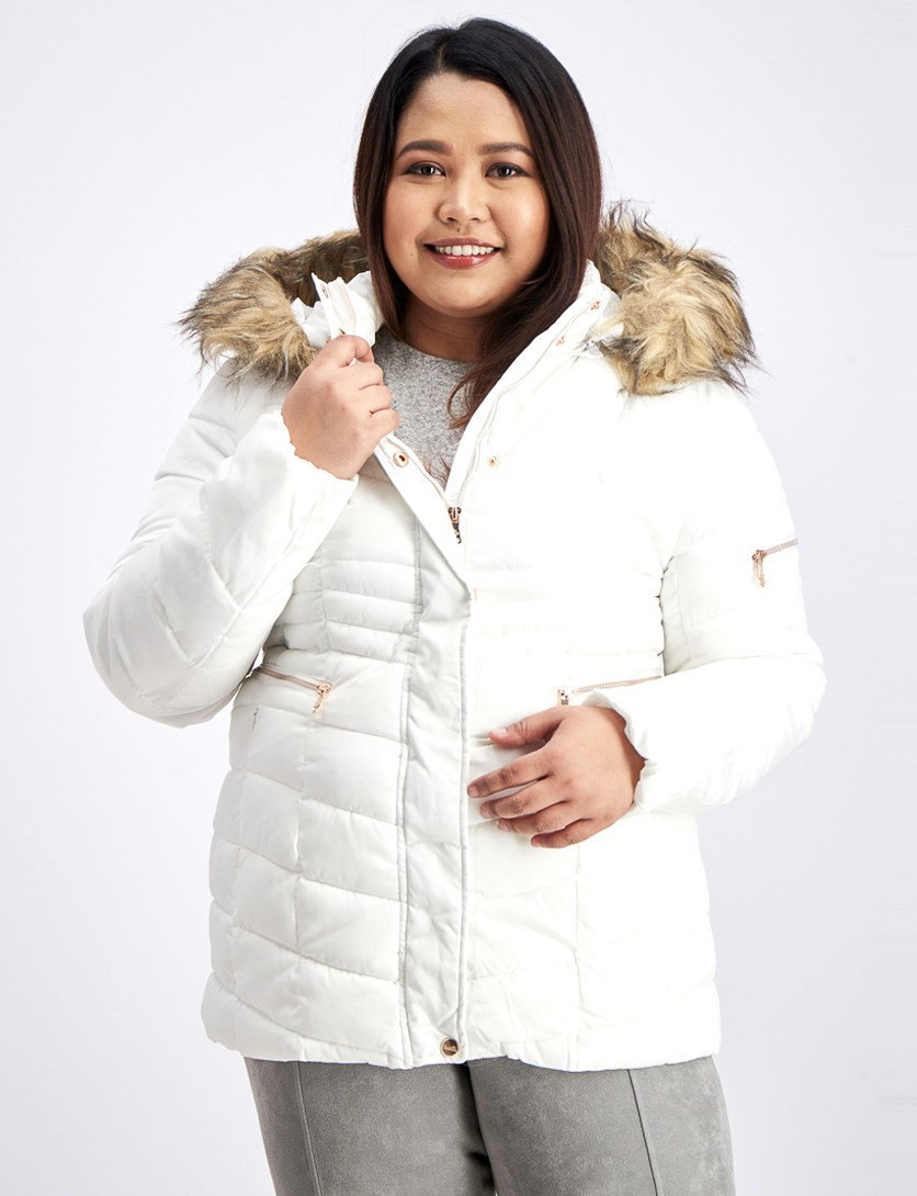 Women's Quilted Fur Trim Puffer Jacket, White