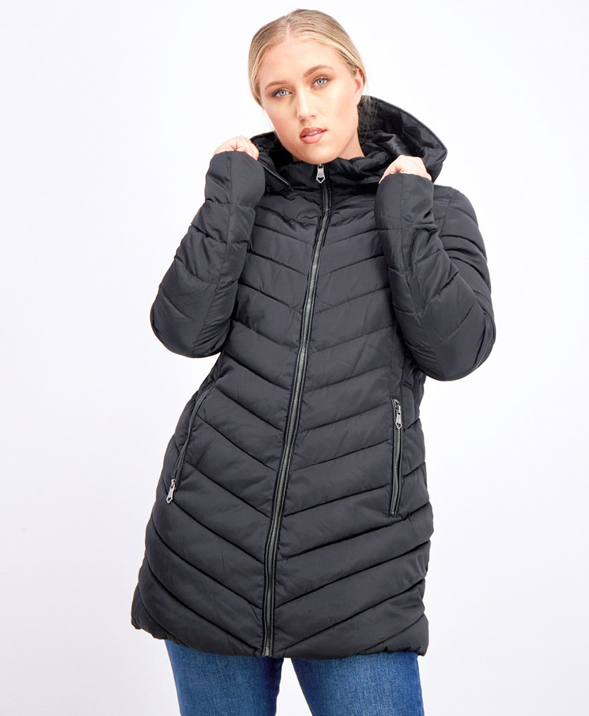 Women's Quilted Hooded Puffer Jacket, Black