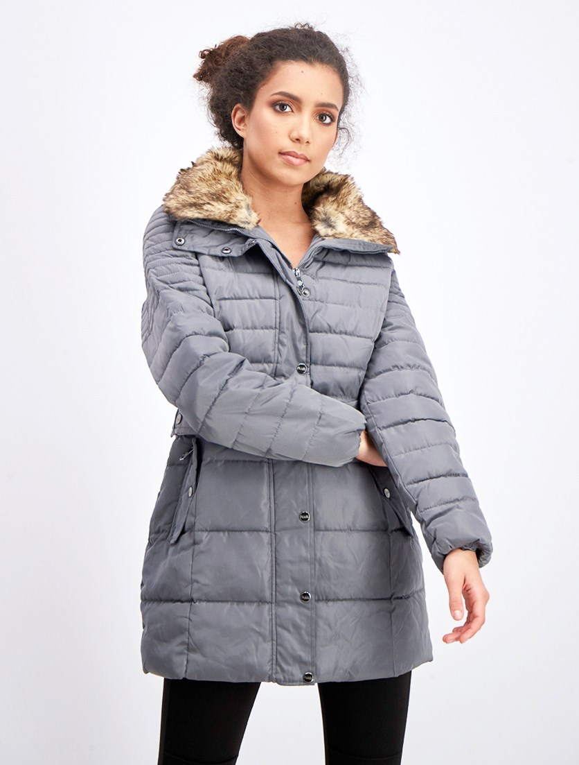 Women's Belted Faux Fur Hooded Puffer Coat, Mid Grey