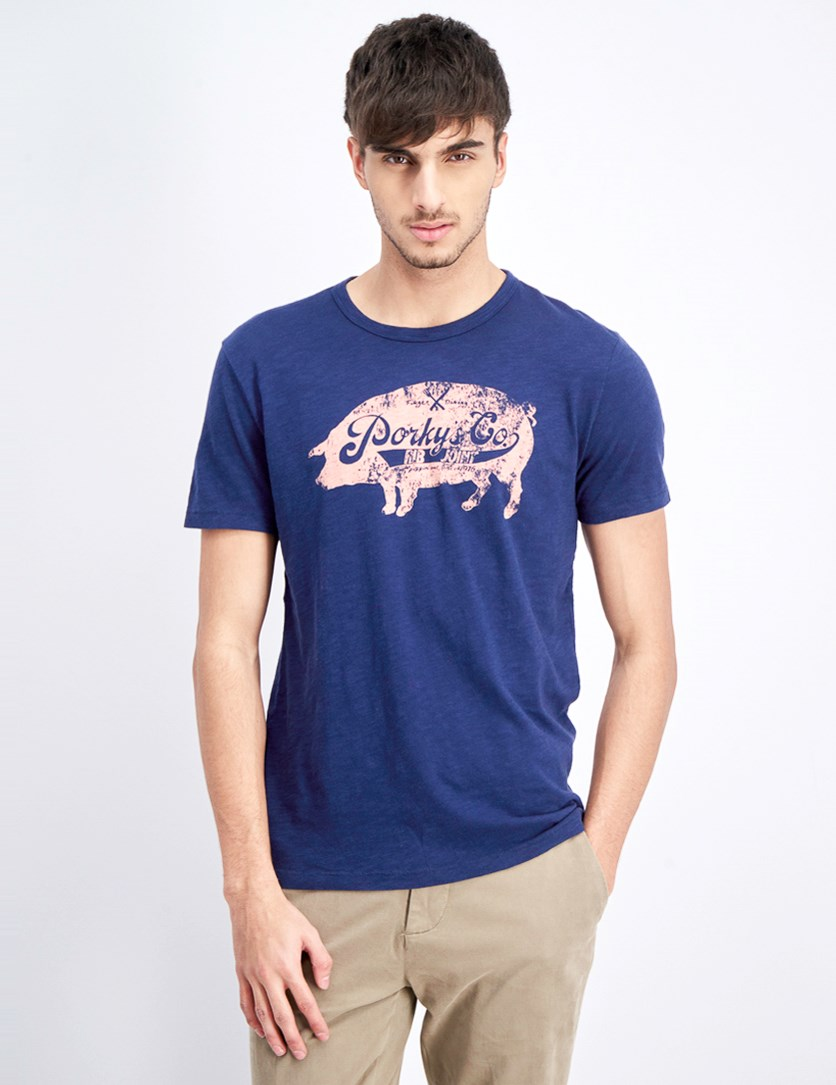 Men's Graphic Print Top, Navy