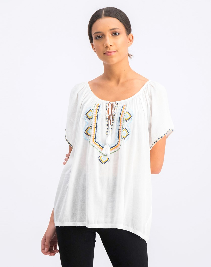 Women's Embroidered Short Sleeve Peasant Top, White