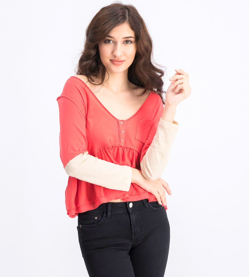 Women's Long Sleeve Tops, Camelia Combo
