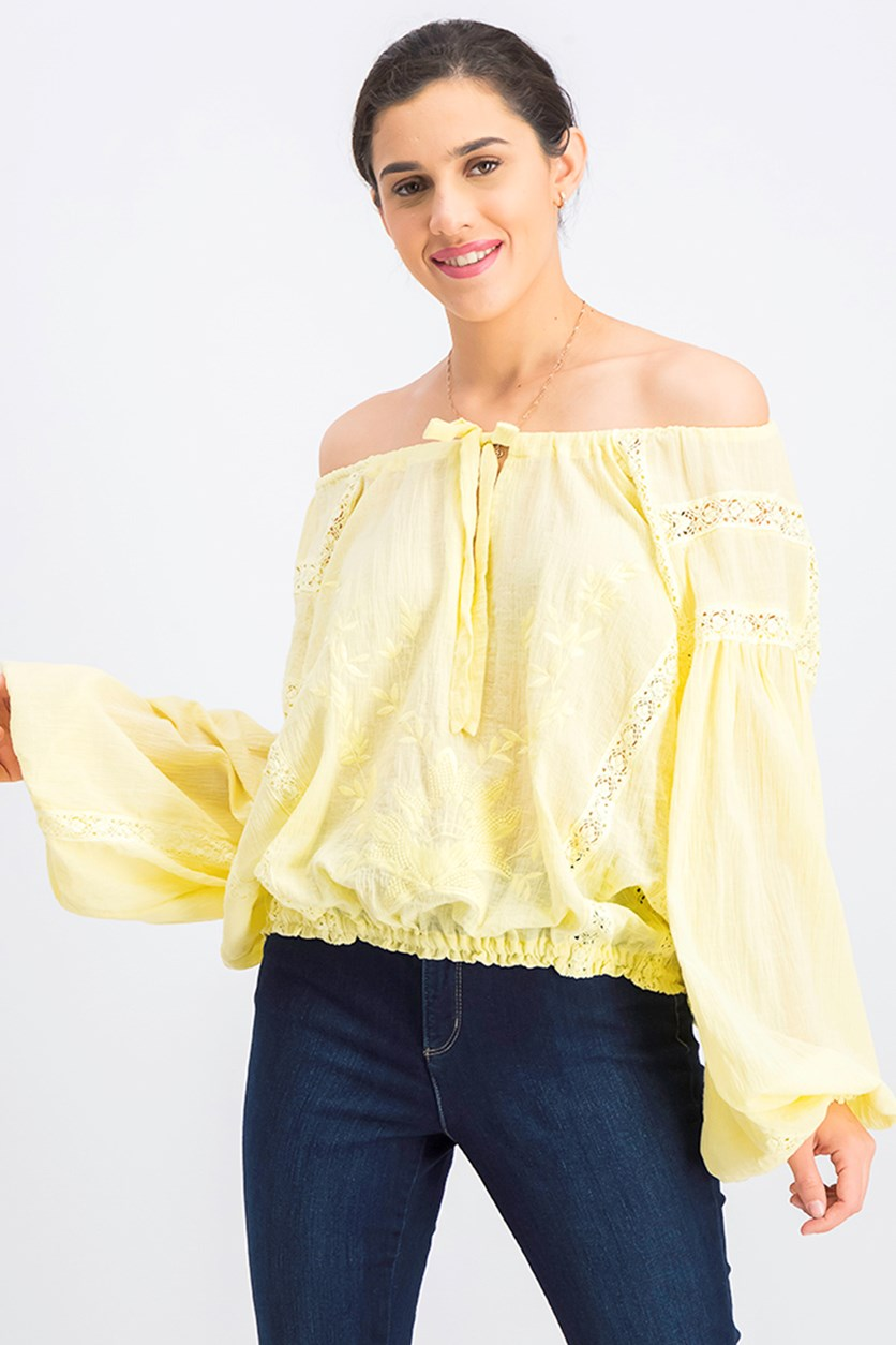 Women's Maria Maria Lace Blouse, Yellow