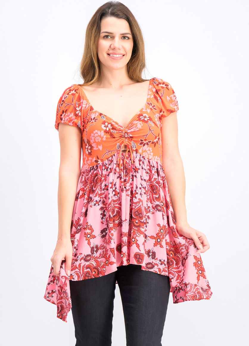 Womens La Bamba Babydoll Top, Hawaiian Sunset