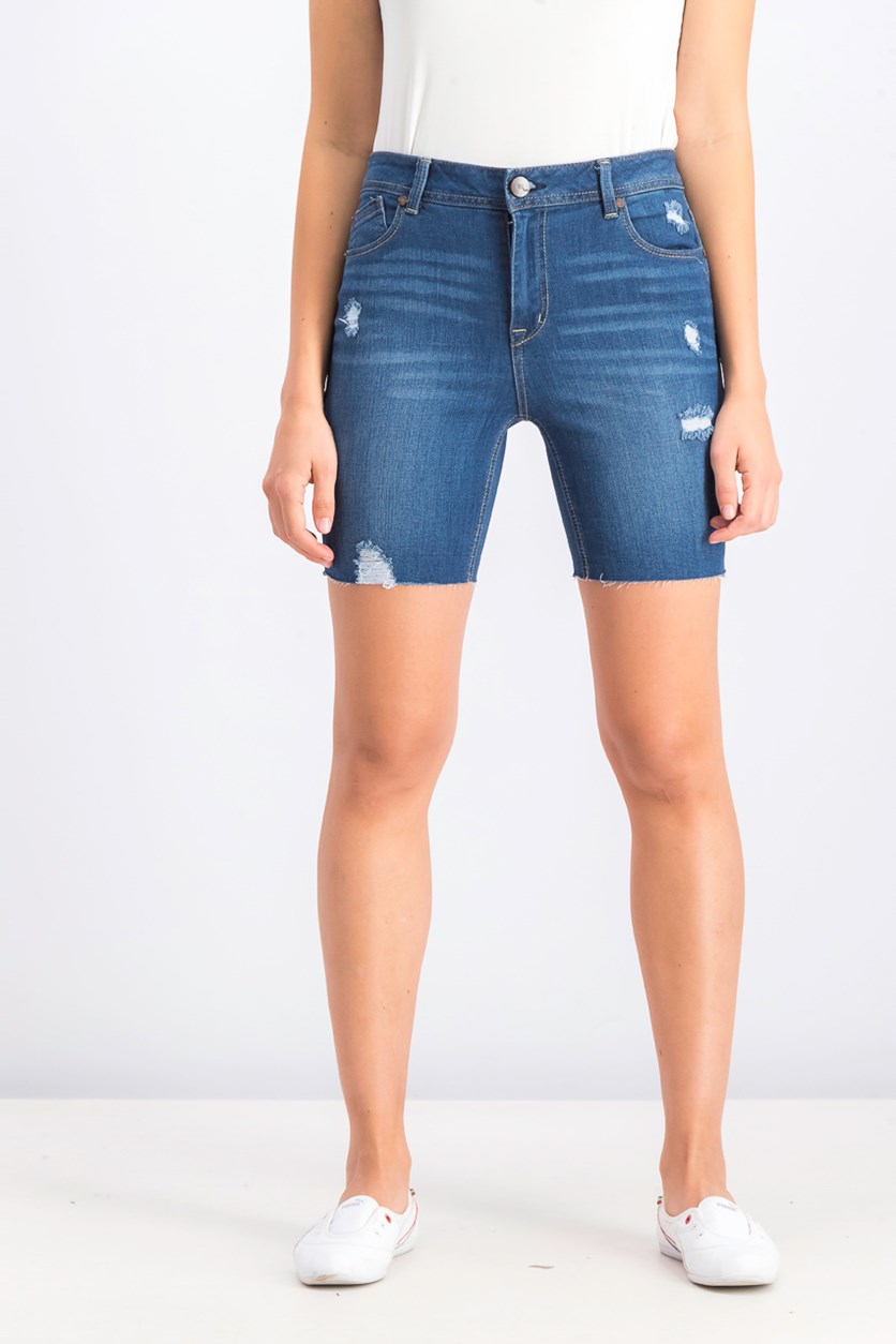 Women's Rip Denim Short, Wash Blue