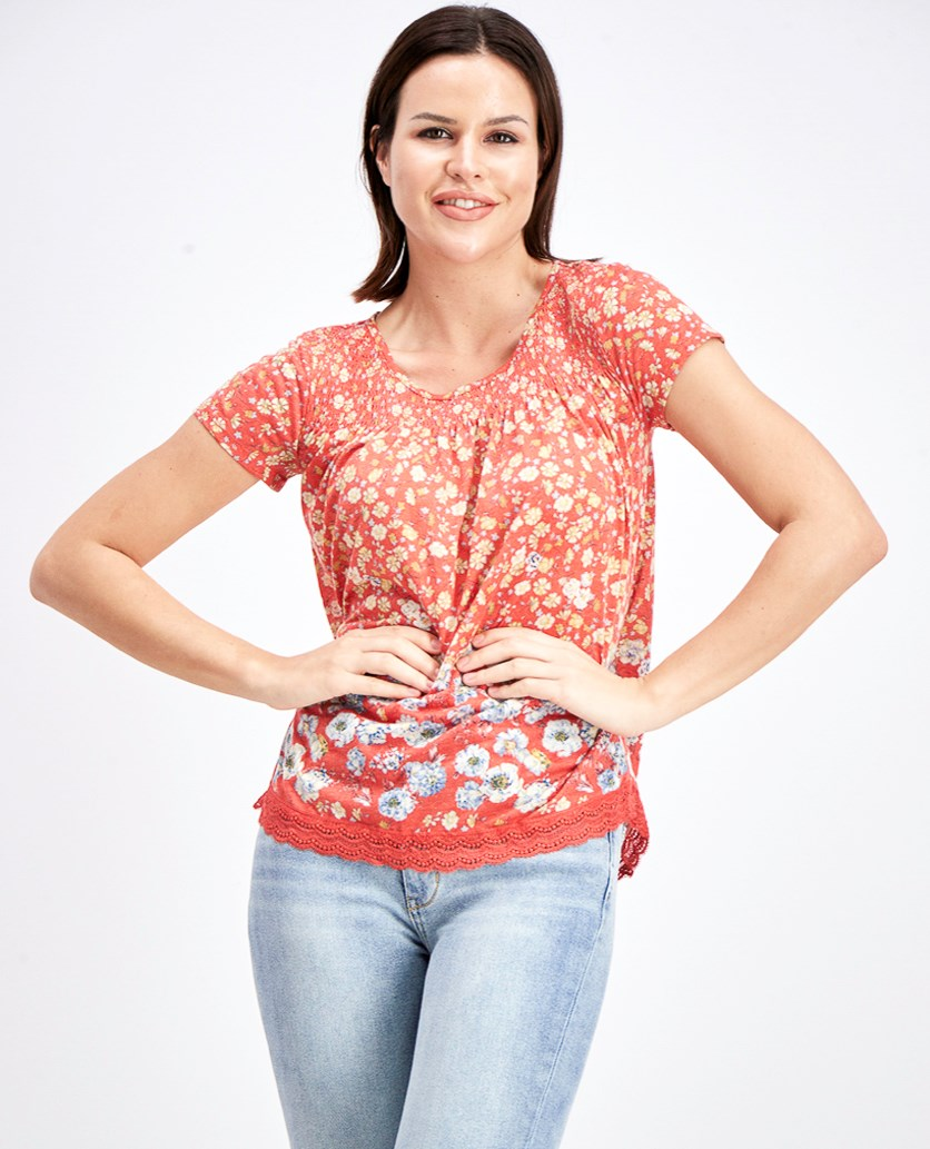 Women's Floral Print Blouse, Red