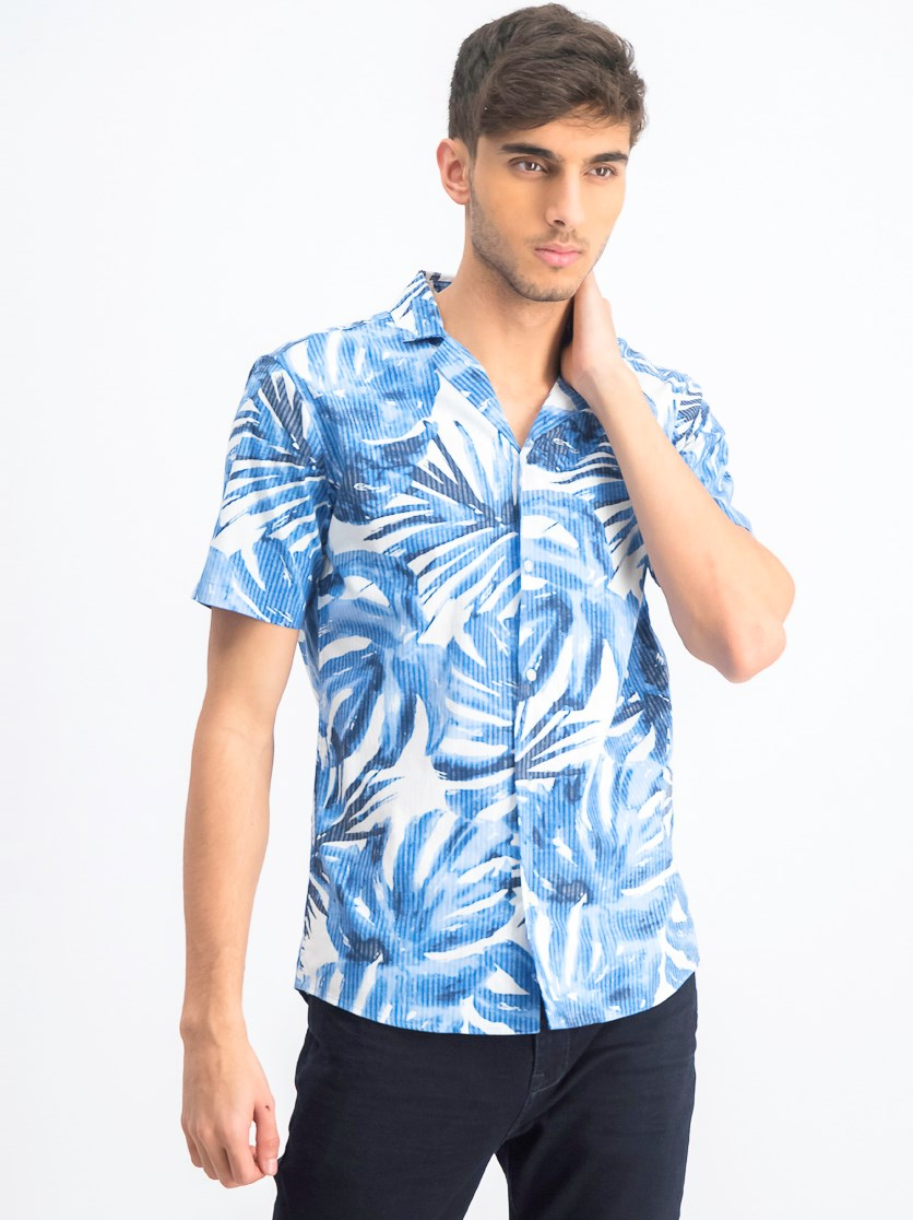 Men's Tropical Hawaiian Print Shirt, Blue