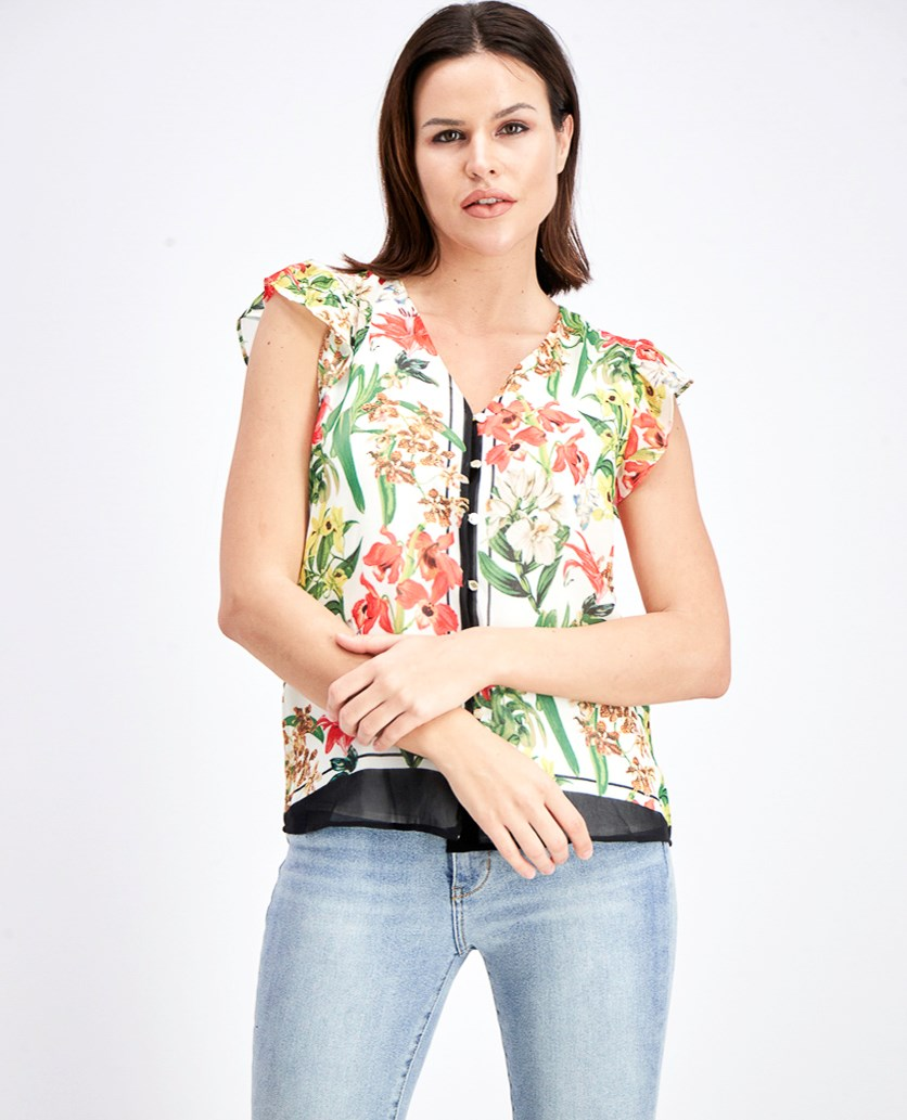 Women's Floral Print Blouse, White Combo