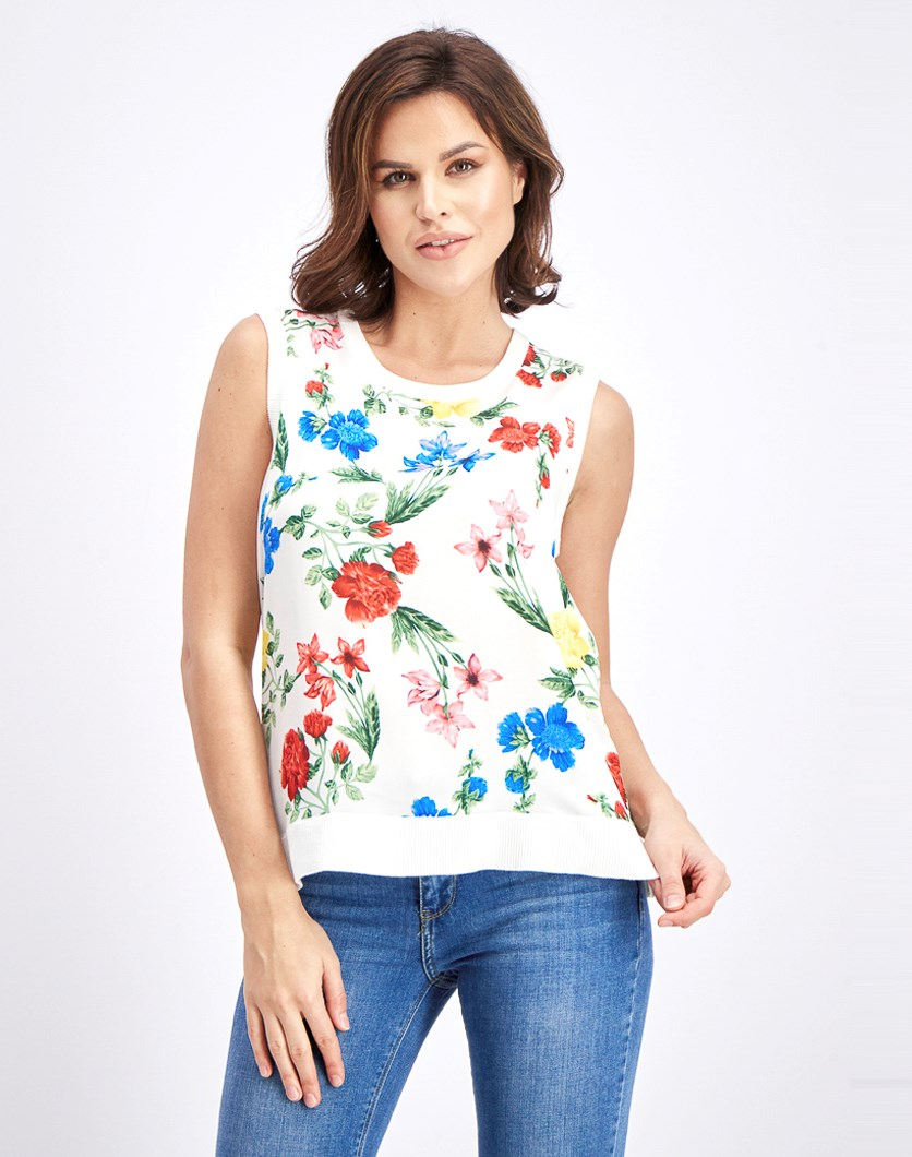 Women's Floral Ribbed Detail Blouse, White Combo