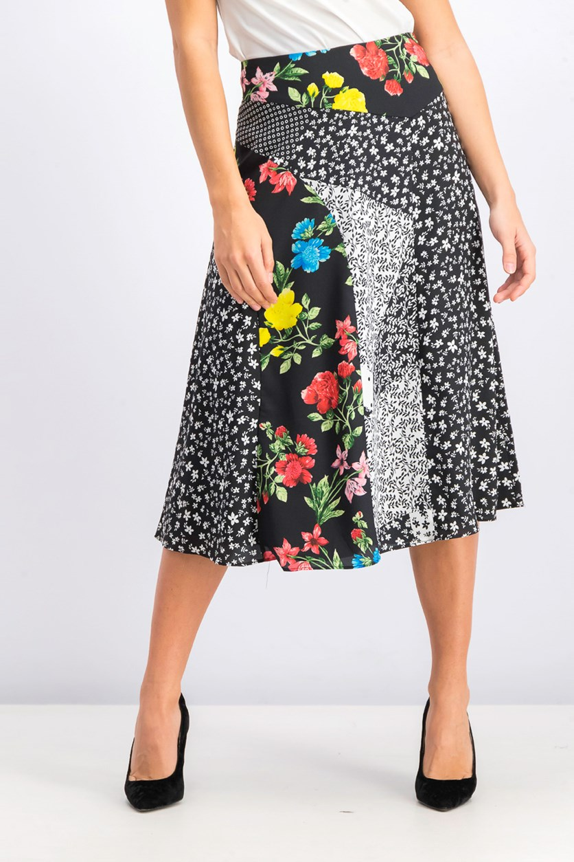 Women's Seamed A-Line Skirt, Black Combo