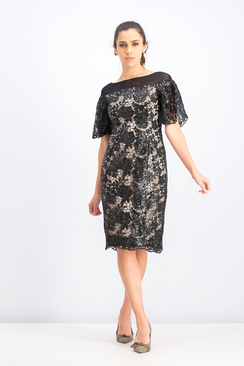 Women's Embellished Lace Sheath Dress, Black
