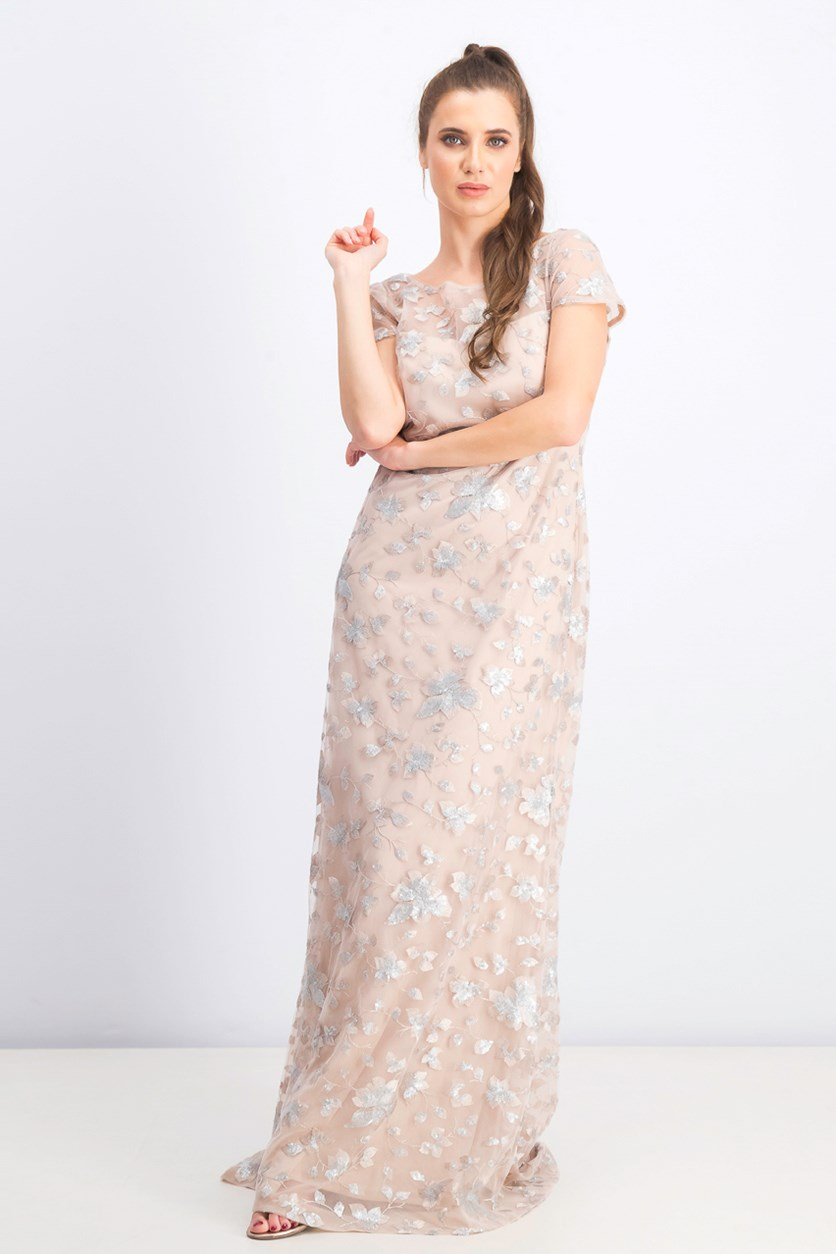 Women's Sequins Floral-Pattern Gown Dress, Silver/Blush