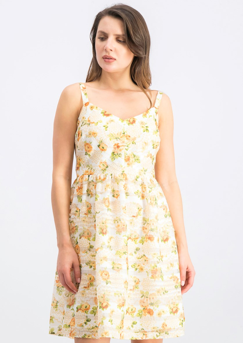 Women's Floral Print Dress, Yellow