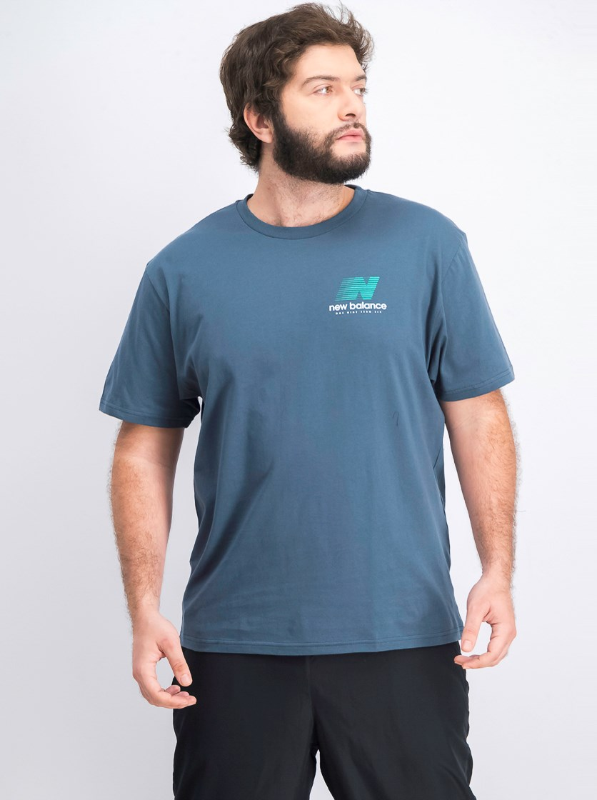 Men's Crew Neck Shirt, Obe/Teal