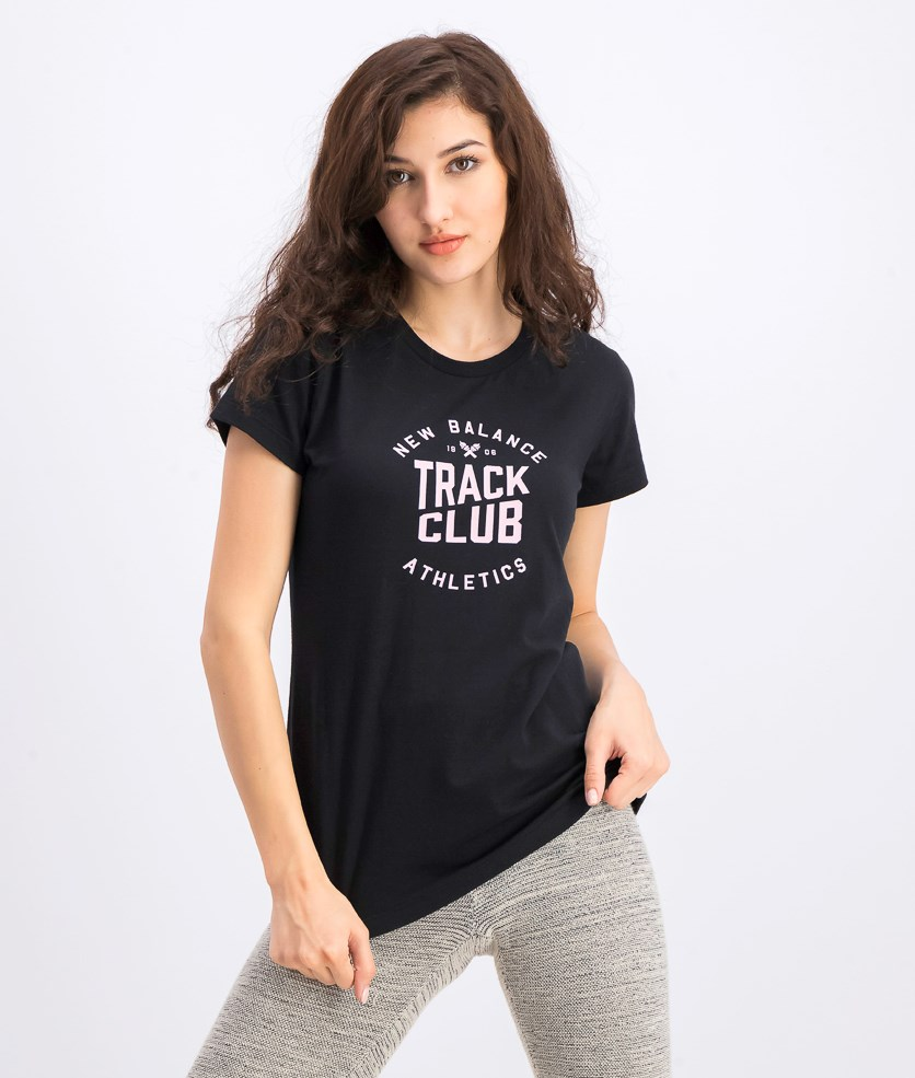 Women's Graphic Tee, Black/Peach