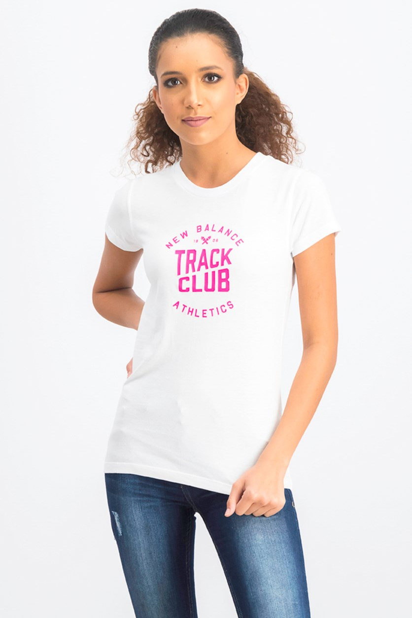 Women's Graphic Tee, White/Pink