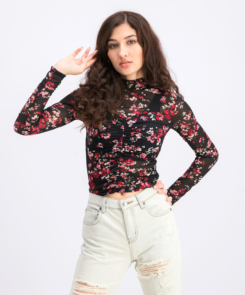 Women's Floral Long Sleeves Citro Top, Black Combo