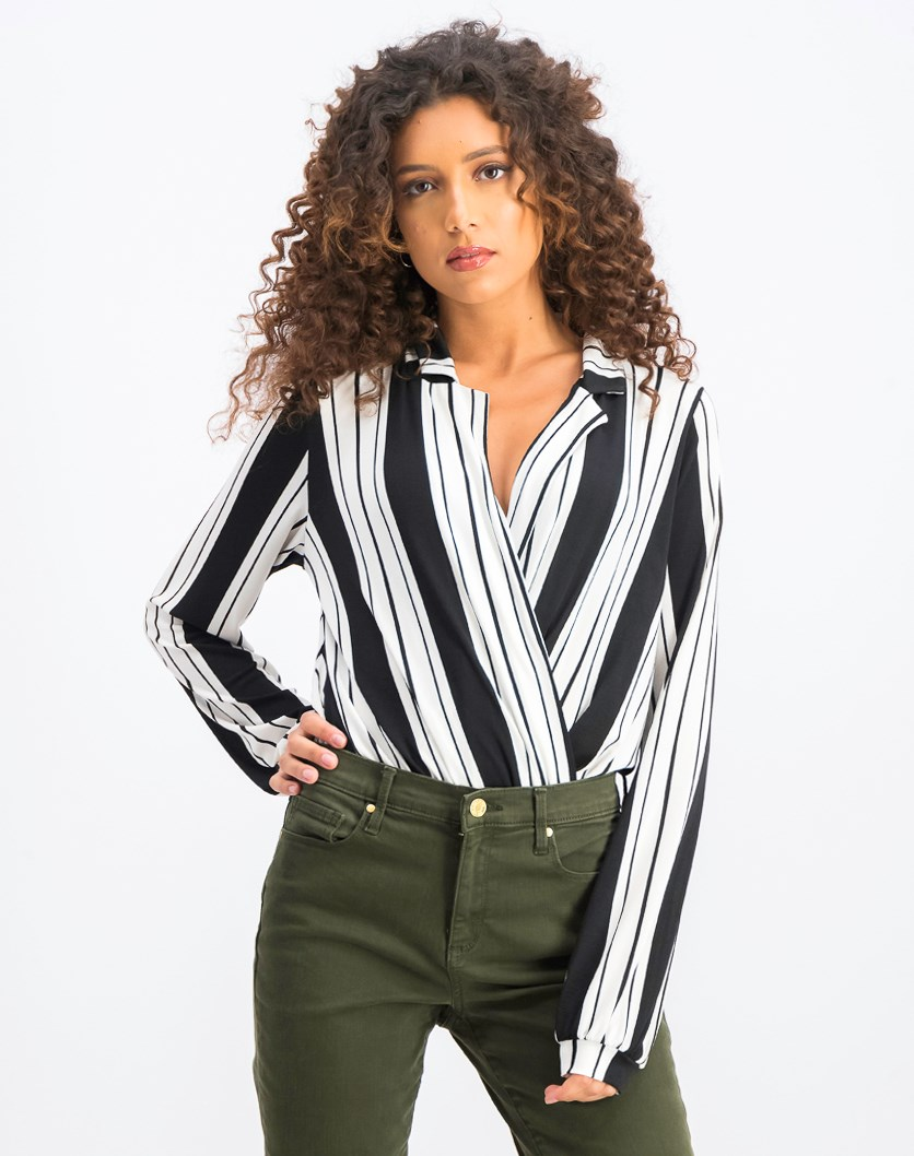 Women's Long Sleeves Striped Body Suit, Black/White
