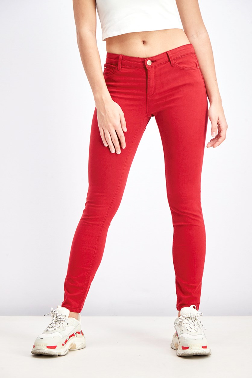 Women's Four Pocket Pants, Red