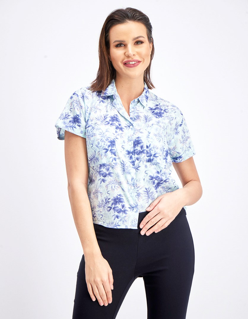 Women's Floral Printed Blouse, Aqua/Navy