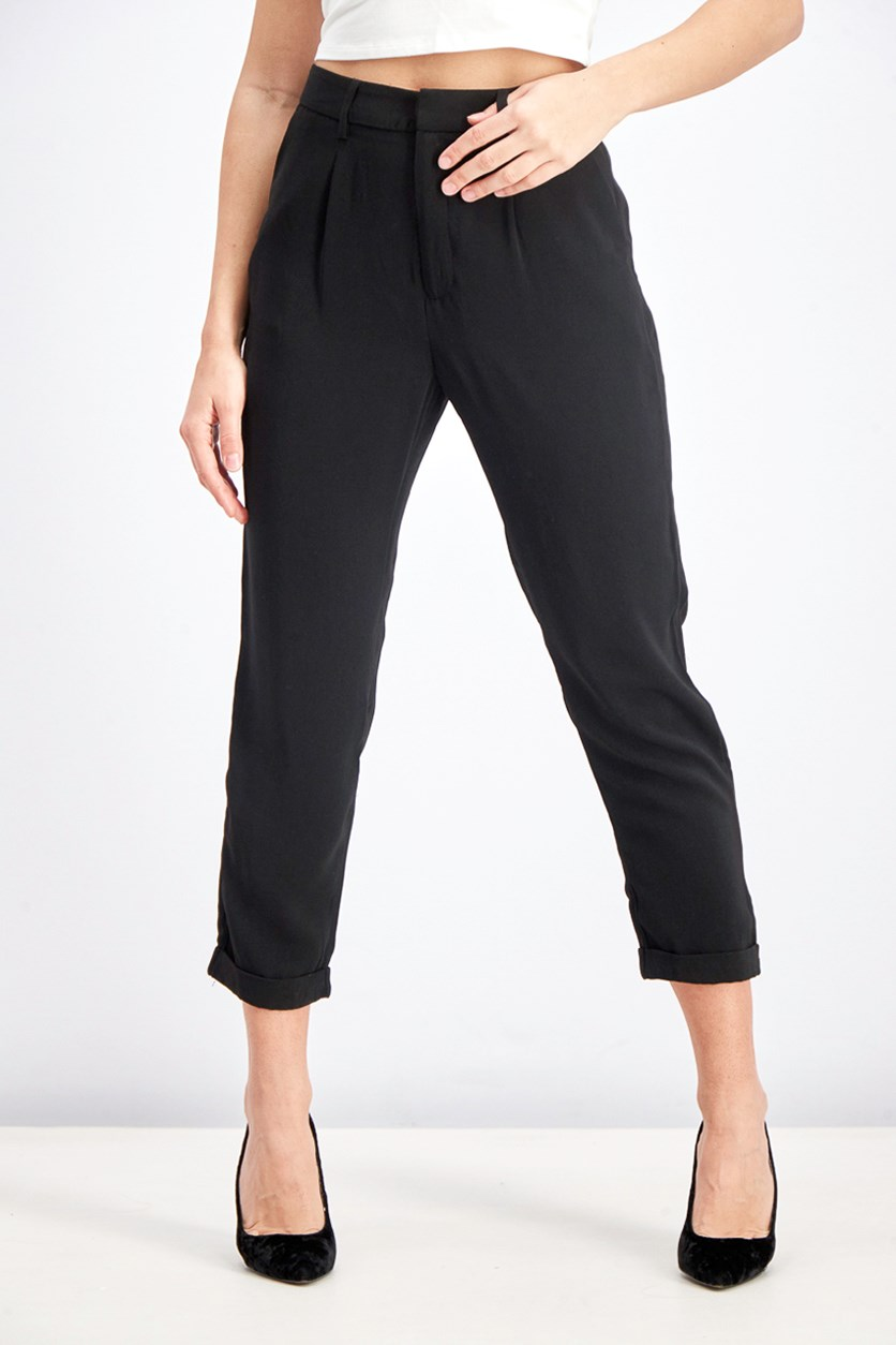 Women's Solid Pants, Black