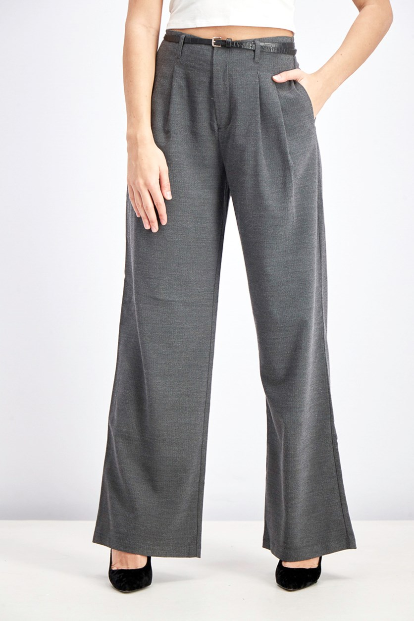 Women's Belted Trouser, Charcoal