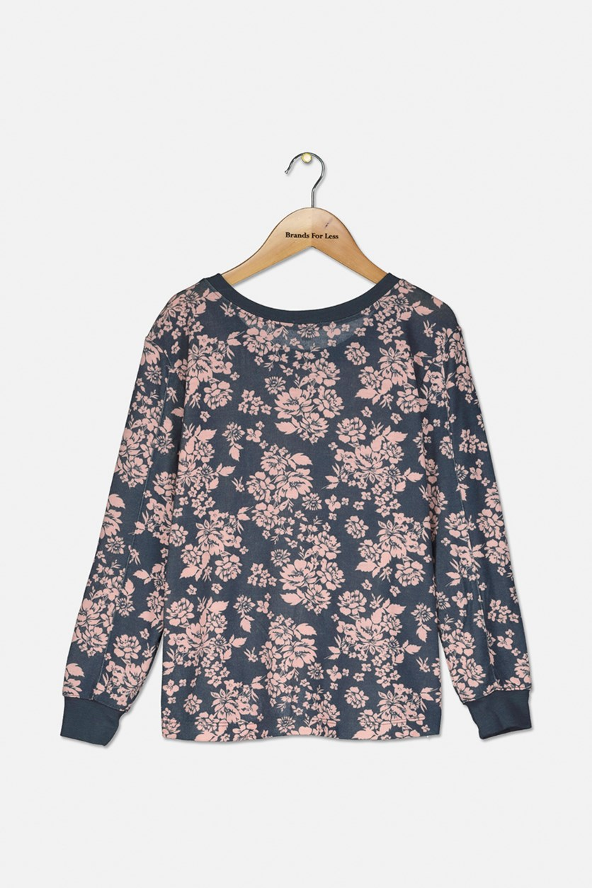 Girls' Floral-Print Tee, Pink Combo