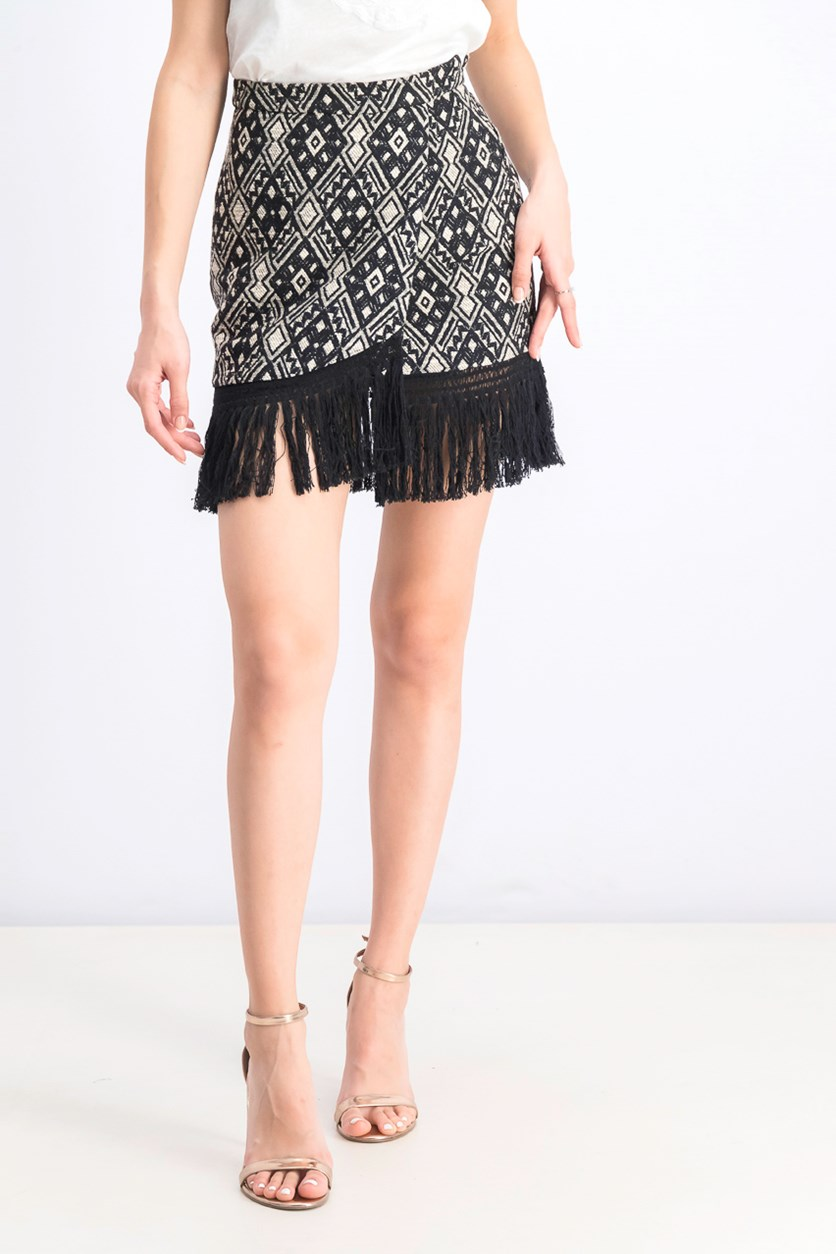 Women's Embroidered Fringe Skirt, Black/Beige