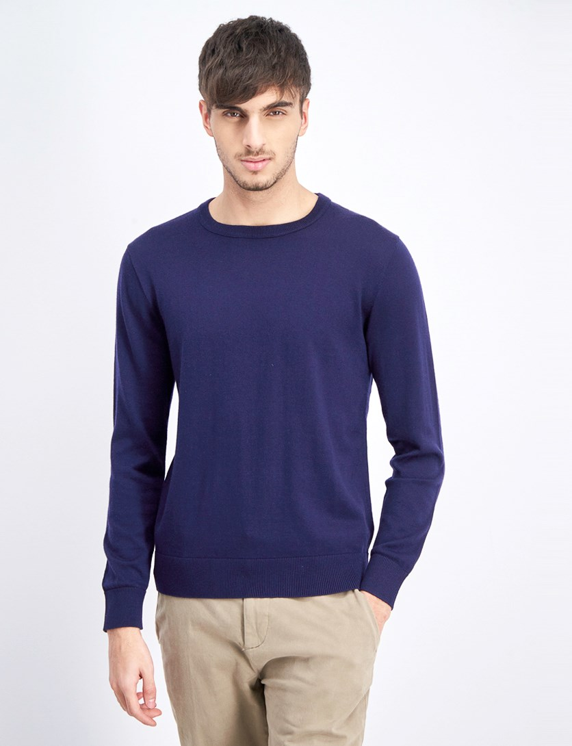 Men's Long Sleeve Plain Sweater, Navy