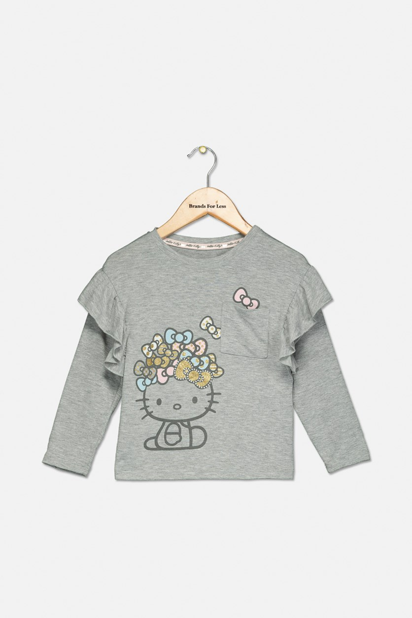 Toddler Girls Graphic Tees, Heather Grey