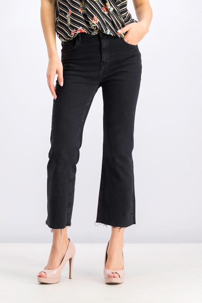 Women's High Waist Kick Flare Jeans, Black
