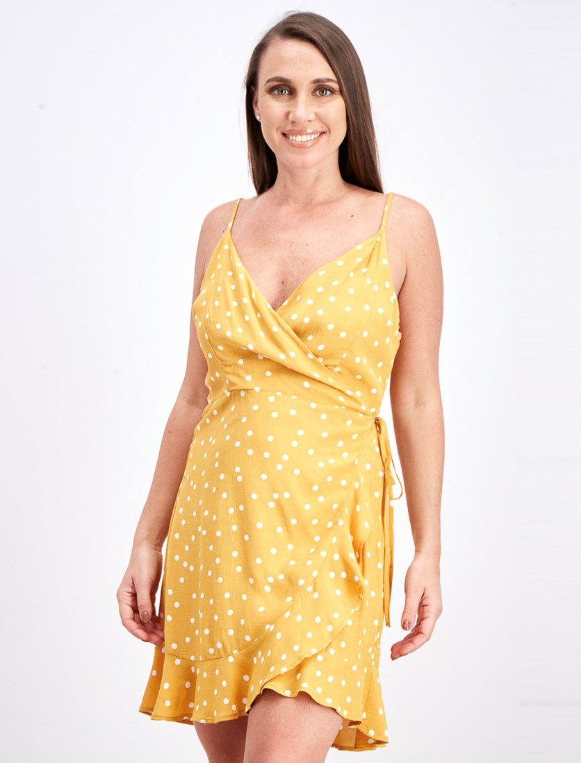 Women's Dress With Straps With Bows, Mustard
