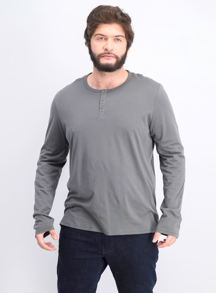 Men's Long Sleeve Henley, Smoke