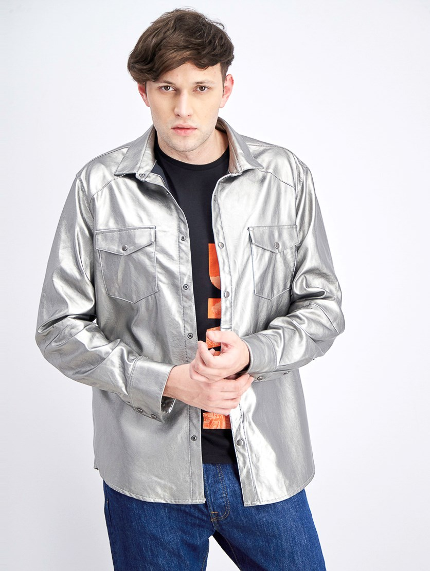 Mens Rayon Shirt Jacket,  Silver