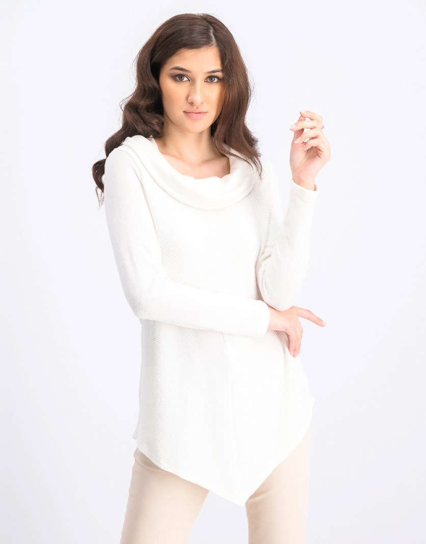 Women's Asymmetrical-Hem Cowl-Neck Sweater, Offwhite