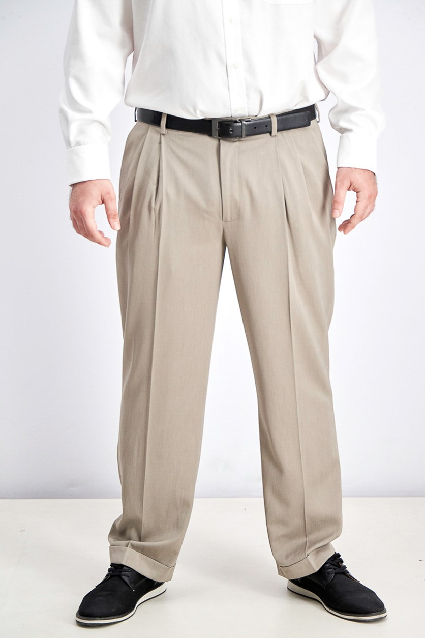 Men's Portfolio Classic Fit Double Pleat Micro Melange Pants, Tan