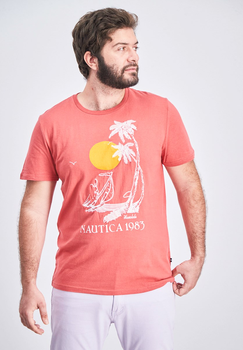 Men's Vintage Palm Graphic T-Shirt, Coral