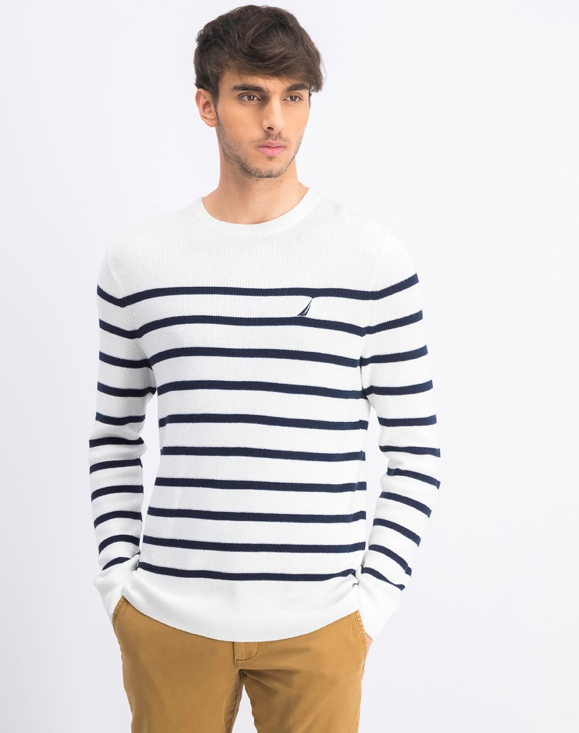 Men's Breton Striped Sweater, White