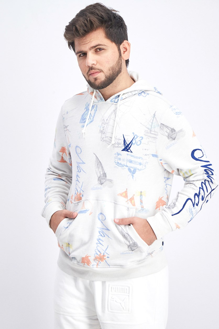 Men's Blue Sail Classic-Fit Limited-Edition Printed Logo Hoodie, Frost Heather