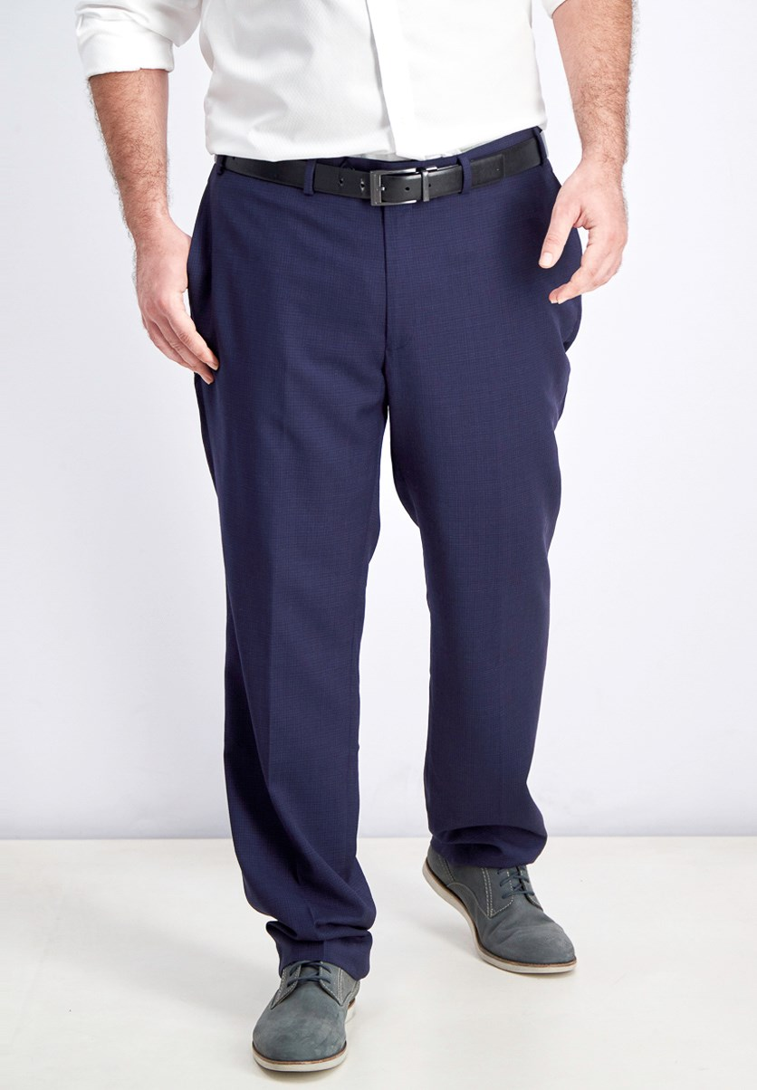 Men's Classic-Fit Windowpane Flannel Dress Pants, Navy