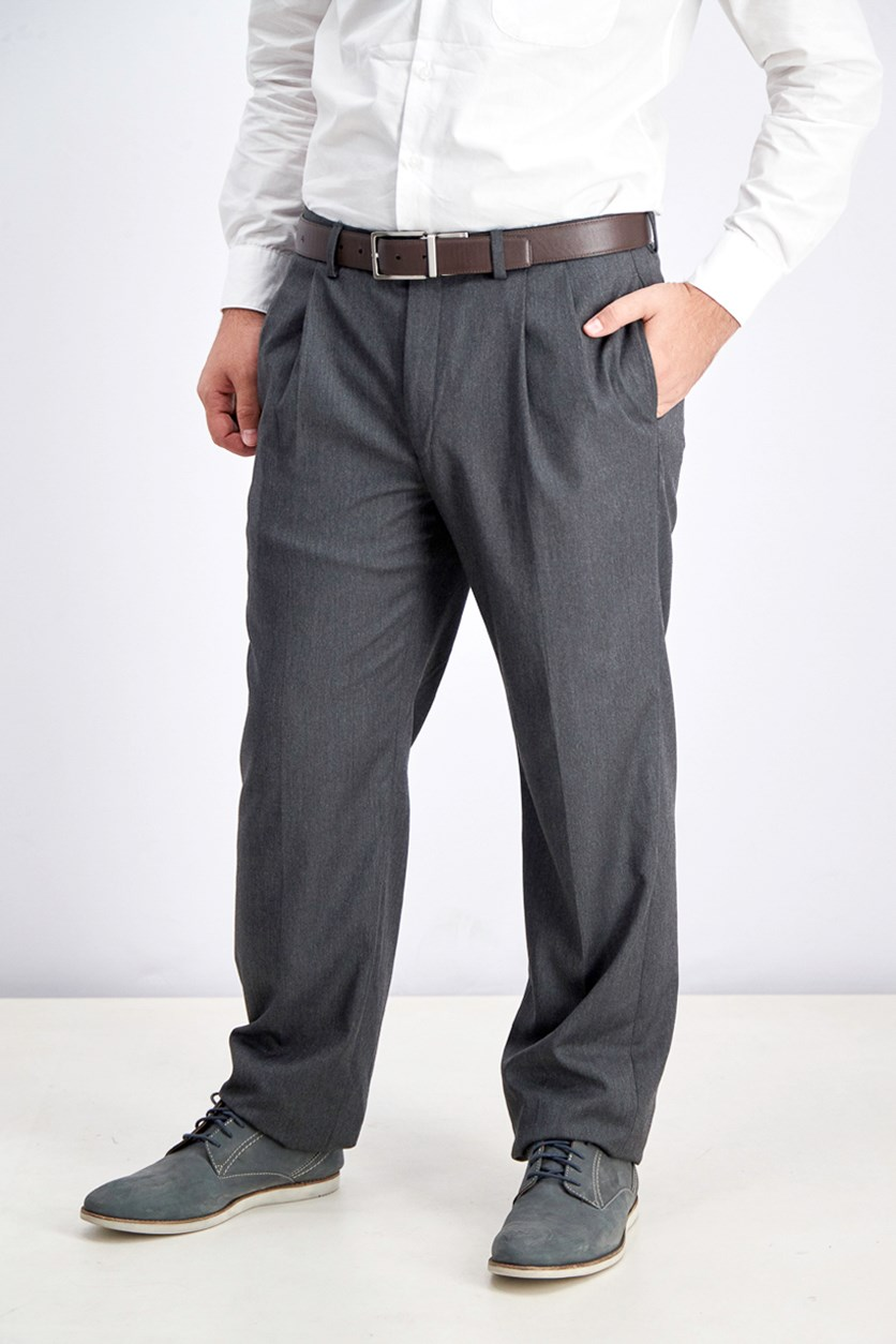 Men's Micro-Twill Pleated Dress Pants, Grey