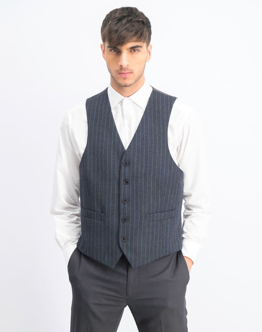Men's Pin Button Vest, Charcoal Blue