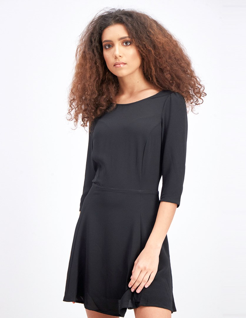 Women's Three Quarter Sleeve Dress, Black