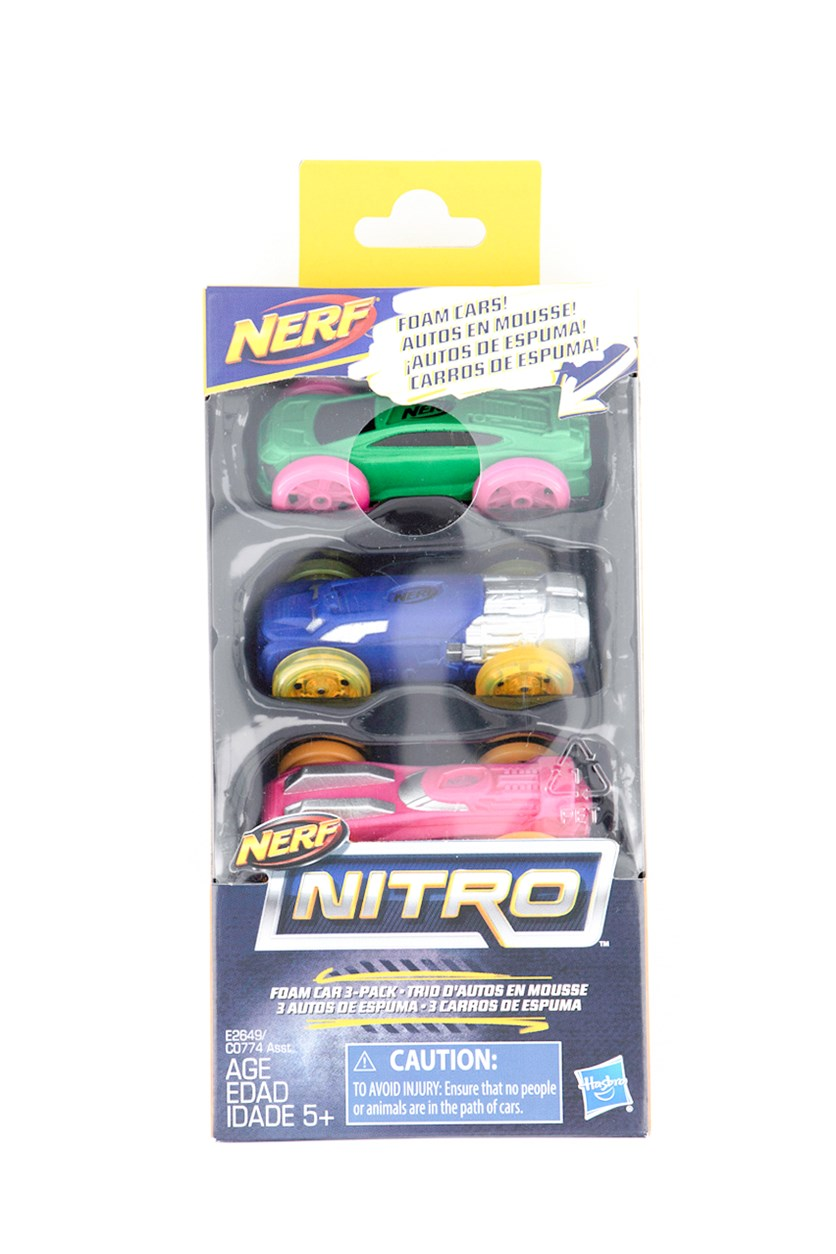 Nerf Nitro Foam Car 3-Pack, Green/Navy/Pink Combo