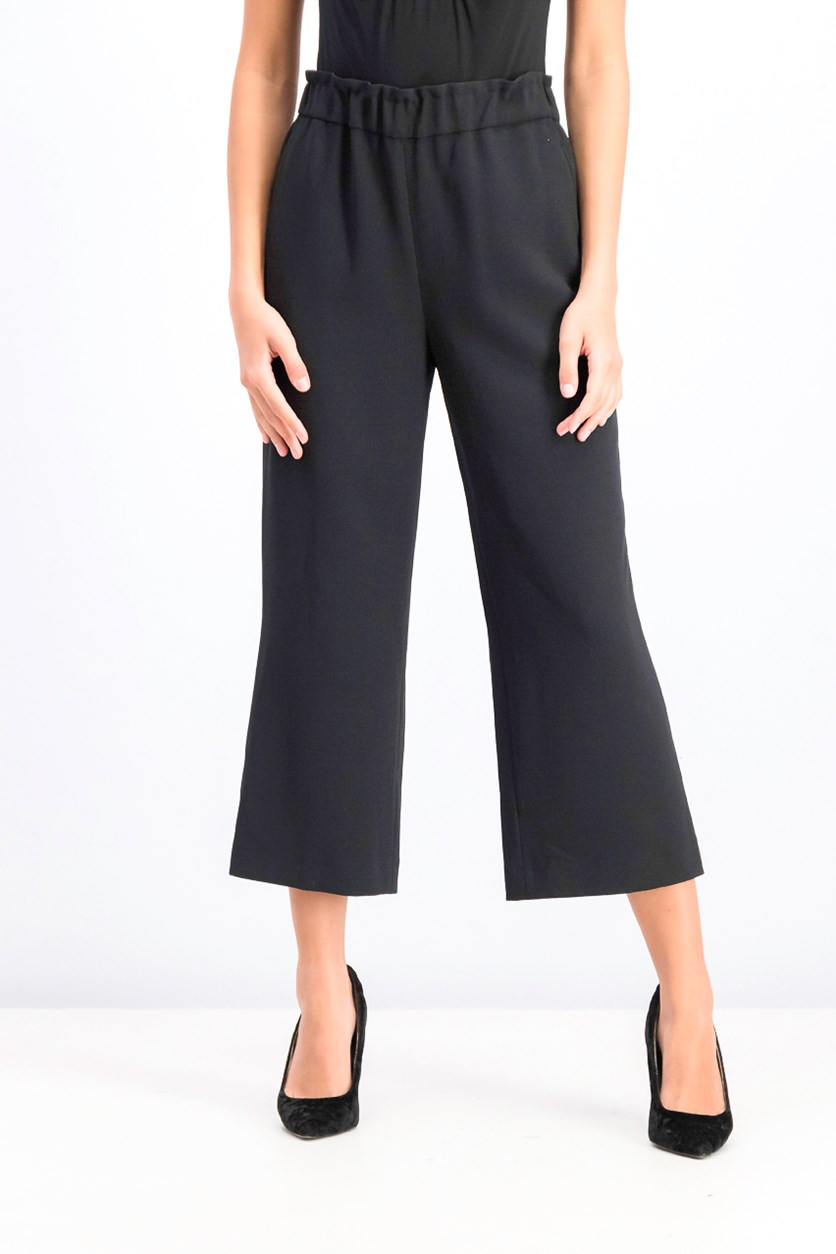 Women's Cropped Pull-On Pants, Black