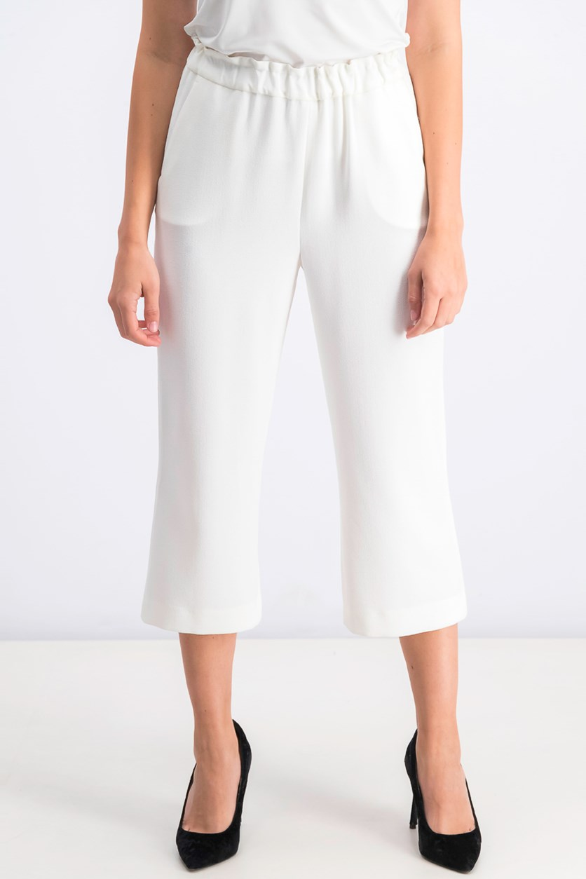 Women's Petite Pull-On Wide Leg Capris, Ivory