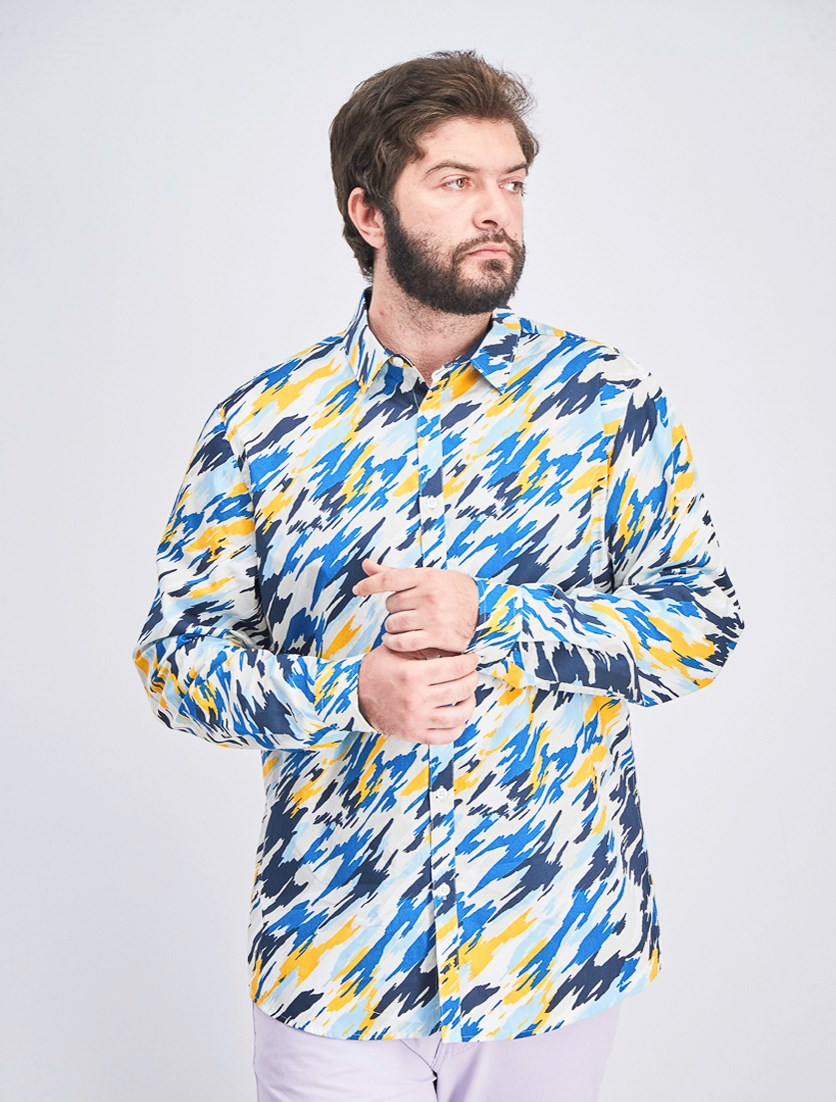 Men's Printed Long Sleeve Shirt, Blue Combo