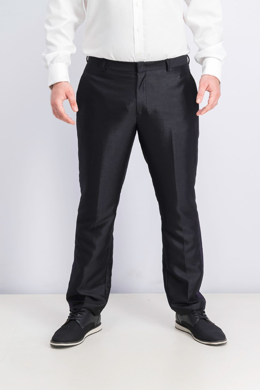 Mens Pants Black Purple Slim Dress, Deep Black